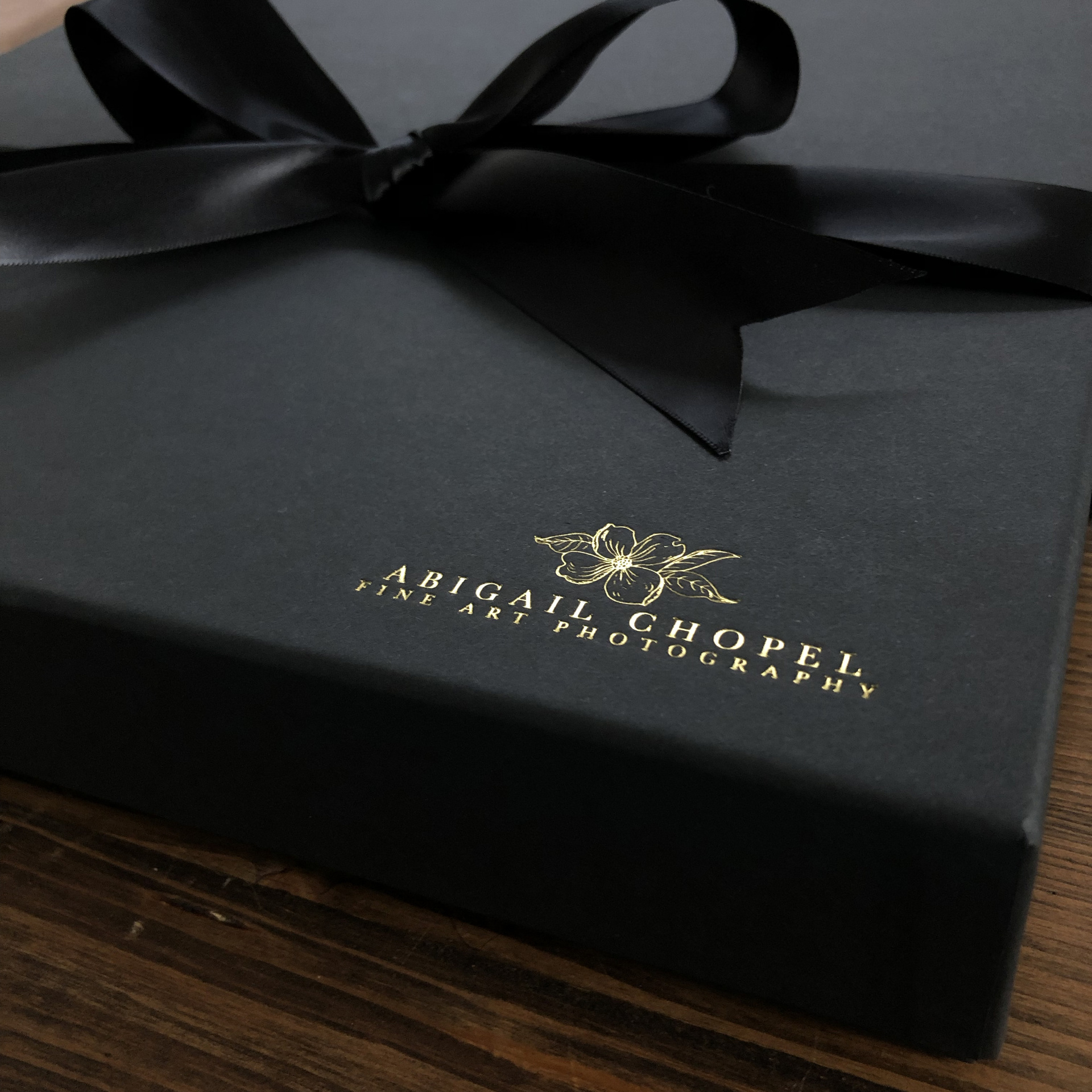 gift box stamped in gold